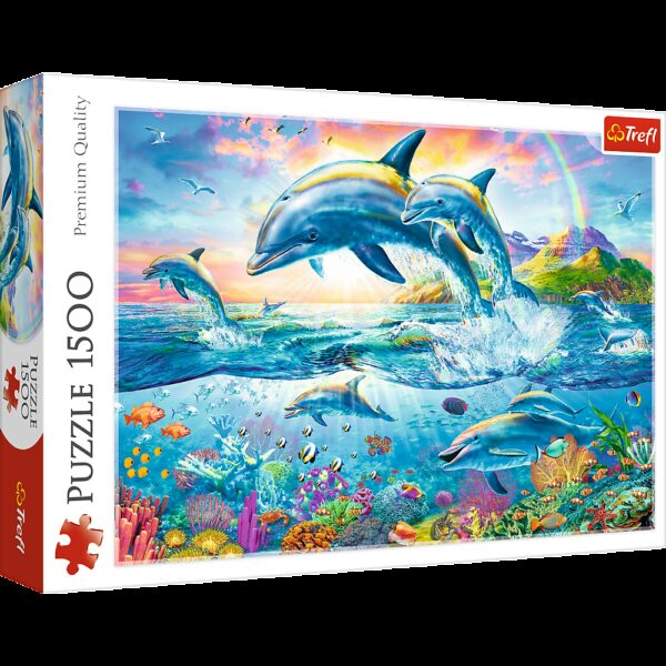Dolphin family  Trefl Puzzle  1500 (850x580) 1500 Pieces 26162