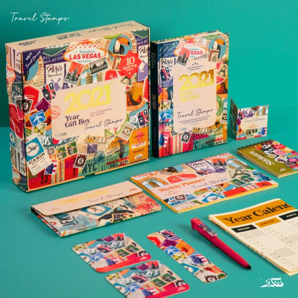 Travel Stamps Daily Agenda Box