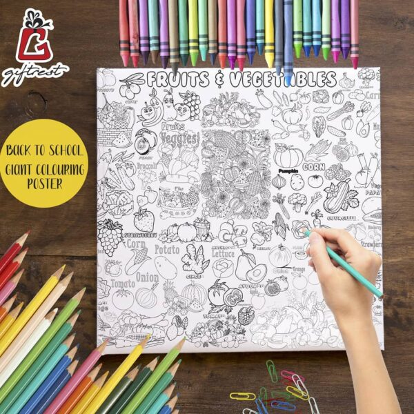 Animal & Vegatables Coloring Poster GCP-007 (200x90)